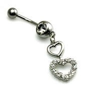 14g (1.6mm) Stainless Steel Cubic Zirconia Double Heart Dangle Belly Ring Navel Piercing