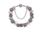 European Style Charm Bracelet with Gift Bag - Classic Pink