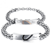 "COPAUL 2 PCS Stainless Steel Half Heart Shape ""Real Love"" Link Bracelet Wristband Valentine Love Chain, Adjustable"