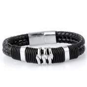 HIJONES Jewellery Stainless Steel Mens Bracelet Genuine Leather European Braided Wristband