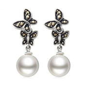 Jade Angel 925 Silver Round 12mm White Pearl Dangle Earrings Vintage Old Jewellry