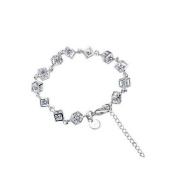 Silver Plated Cube Bracelet Chain Link Sparkly Crystal