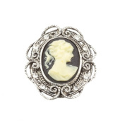 Mytoptrendz®Vintage Antique Victorian Style Lady Cameo Black Silver Crystal Brooch Pin Jewellery
