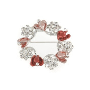 Mytoptrendz® Silver Plated Beautiful Crystal Flowers And Red Hearts Brooch