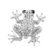 Mytoptrendz® Silver Tone Diamante Frog Brooch Pin