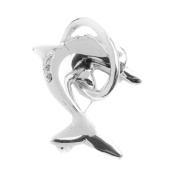 Mytoptrendz® Silver Plated Dolphin In Ring Brooch With Rhinestone Clear Crystals By