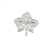 Mytoptrendz® Vintage Costume Jewellery Brooches Rhodium Plated with Clear Crystal