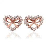 BODYA Rose Gold-Plated Cubic Zirconia open Heart Shaped love bow Halo Stud Earrings women girls gift
