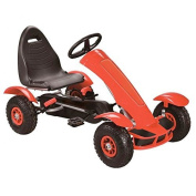 Oypla Deluxe Kids Childrens Red Pedal Go Kart Ride On Garden Toy Rubber Wheels