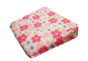 Pregnancy Maternity Large Comfy Back & Bump Support WEDGE Cushion - PINK BLOSSOM - WITH QUILTED COVER - 30x30cm