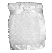 Supersoft White Luxurious Swirl Plush Satin Edged Baby Pram/Crib Blanket - Suitable For Baby Girl/Boy