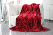 Fur Blanket, High-Quality Soft Throw Mink Blanket Plaid Faux Fur Blanket, Blanket, Throw, Bedspread, Polyester, red, 150 x 200 cm