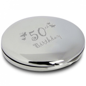 Butterfly Motif Round Compact Mirror 50th Birthday With Pouch