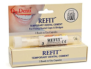THREE PACKS Dr Denti Refit Temporary Dental Cement 3 Ready To Use Capsules