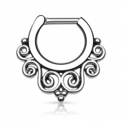 Gekko Body Jewellery Tribal Swirls Silver Surgical Steel Septum Clicker Nose Daith 1.2mm