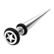 Gekko Body Jewellery Surgical Steel Fake Taper / Plug with Star Top and O-ring - 1.2mm x 44mm