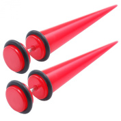 Jewellery 2pcs of Top Quality Fake Acrylic Red Taper Stretcher Plugs Cheater 8mm Earrings O rings LADK