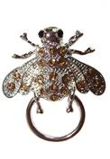NEW Eye Glasses / Spectacle Hanger Amber Rhinestone Bee Brooch / Pin Holder