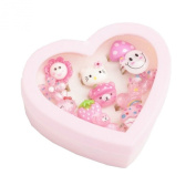 Hello Kitty Girls Ring set - 12 adjustable childrens rings gift boxed