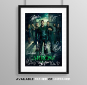 Arrow Full Cast Signed Autograph Signature A4 Poster Photo Print Photograph Artwork Wall Art Picture TV Show Series Season DVD Boxset Present Birthday Xmas Christmas Memorabilia Gift