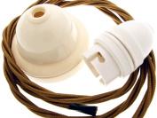 Period Ivory Ceiling Pendant Light Kit Antique Gold Flex