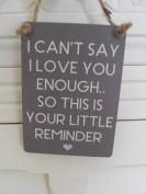 Mini Metal Hanging Sign - I cant Say I love you Enough