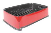 Curver Plastic Urban Rectangular Dish Drainer, Red