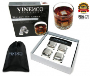 Whisky Ice Cubes Gift Set by VINENCO - 4 Reusable Stainless Steel Cooling Rocks + Storage Pouch - Best Whiskey Cooling Stones Will Gently Cool Your Drinks Without Diluting Them.