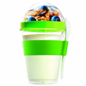 "Asobu ADYO2GOSGR 9 x 9 x 16 cm ""Yo2Go"" Integrated Yoghurt Container with Spoon and Separate Container for Fruit/Granola, Green"