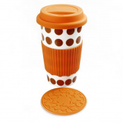 PANBADO® - Orange Polka Dots Eco Cup Ceramic White Porcelain Travel Mug 350ml + Free Silicone Lid + Silicon Coaster + Silicon Sleeve - I'M NOT A PAPER CUP