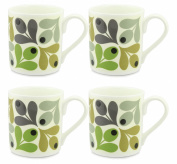 4 x Orla Kiely Multi Acorn Mugs - Green