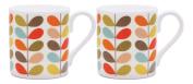 2 x Orla Kiely Ten Colour Stem Mugs