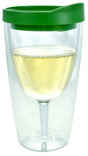 Southern Homewares 470ml Insulated Vino Double Wall Acrylic Wine Tumbler with Drink through Lid, Green