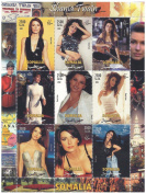 American rock legend Shania Twain collectible stamp sheetlet on a Canada backdrop / 9 stamps / Somalia / 2002