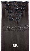 Liaohan® Straight Long Full Head Clip in Dark Brown Hair Extensions High Temperature Synthetic Hair Clip in on Hair Pieces
