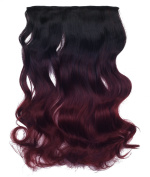 SARLA 60cm 50cm 5Clips One Piece 2 Tones Ombre Colour Clip in Hair Extension 130g