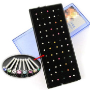 Oasis Plus 60pcs Multi-colour Crystal 316L Surgical Steel Nose Ring Stud Bone Bar Body Piercing Jewellery