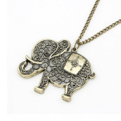Doinshop Women Girl Pendant Jewellery Retro Bronze Elephant Chain Necklace