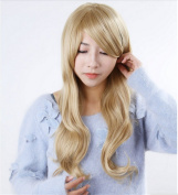 Worldflying . Curly Hair Pad Light Blonde Wig Cospaly 70cm Young Long Synthetic Hair Perruque Peluca Feminina Peruca Lolita