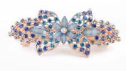 YESHINE Gold Tone Faux Crystal and Rhinestone Inlaid Metal Hairclip Barrette,Blue