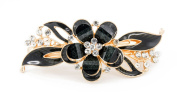 YESHINE Gold Tone Metal French Clip Faux Crystal and Rhinestone Inlaid Hairclip Barrette,Blue