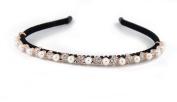 YESHINE Crystal and Rhinestone beaded Pearl Flowers Design Metal headband,Hairband for Bridal Wedding Tiara