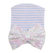 SEEKO Newborn Baby Hat Knit Striped Sequined Bow Cap