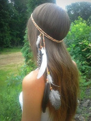A & c Indiana Princess Peacock Feather Head Chain for Girl, Fashion Headband for Women.