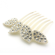 DoubleAccent Hair Jewellery Elaborate Simulated Crystal Flower Comb, White