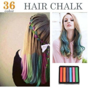 6 Colours Non-toxic Temporary Hair Chalk Dye Soft Pastels Salon Kit Show Party