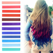Best DIY Red to Blue Ombre Hair Dye Set of 12 | USA inspired Hair Dye | INDEPENDENCE Hair Dye | with Shades of Raspberry, Red, Pastel Purple and Blue Set of 12 Temporary Hair Chalk | Colour your Hair Blue Red Ombre in seconds with temporary HairChalk