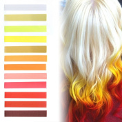 Fire Strawberry Blonde Ombre Hair Dye Set of 12 | Vanilla Mustard Dark Blonde Ombre Hair Set | FLAMING HOT Colour Temporary Vibrant Hair Dye | with Shades of White, Yellow, Golden, Orange & Shades of Red Pastel Set of 12 Temporary Vibrant Hair Dye | Co ..