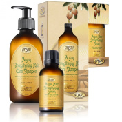 Argan Hair Strengthening Shampoo & Serum Kit - Premium Set to Promote Healthy, Full & Shiny Hair - Moroccan Sulphate Free Shampoo 300ml and Argan Serum 30ml