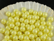 30pcs Czech Beads with a Pearl Coating Estrela Round 8mm Baby Yellow Pastel